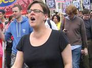 fascist Anti fascist protester claims police broke her leg at rally