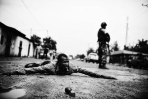 Bangui, Central African Republic, the fifth arrondissement, hold Burundian troops under fire seleka militiaman who attempted to throw a hand grenade at a patrol