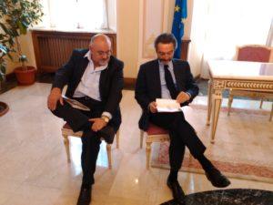 L'assessore Ghiringhelli con Fontana durante l'incontro