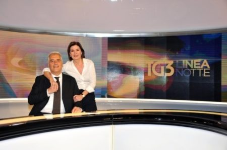 Maurizio Mannoni e Bianca Berlinguer nella redazione del Tg3