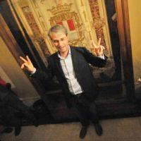 Davide Galimberti a Palazzo Estense dopo la vittoria
