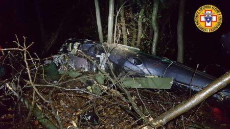 L'elicottero caduto nei boschi di Bisuschio